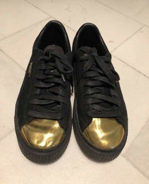 Puma Lace-Up Sneaker black-gold-colored leather