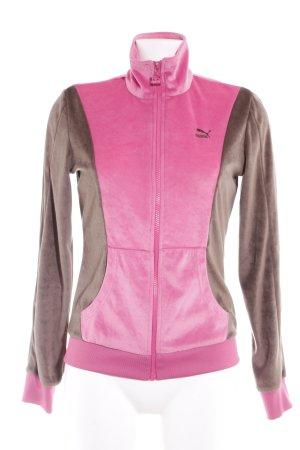 Puma Veste de sport rose-gris brun molletonné
