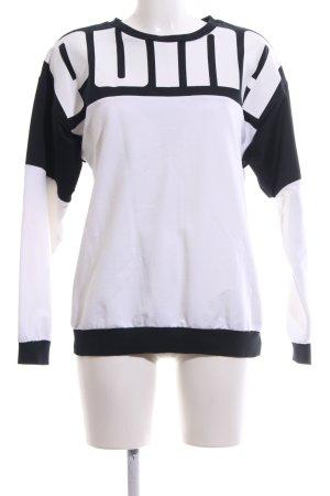 Puma Sportshirt wit-zwart gedrukte letters casual uitstraling