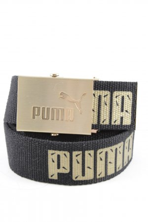 Puma Fabric Belt black-gold-colored printed lettering athletic style