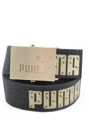 Puma Ceinture en tissu noir-doré lettrage imprimé style athlétique