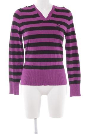 Puma Maglione lavorato a maglia nero-viola motivo a righe stile casual