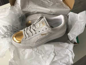 Puma Suede Platform Sneaker Weiß Gold Creepers