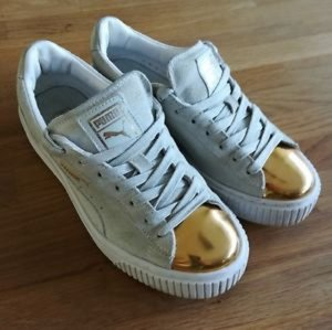Puma Lace-Up Sneaker white-gold-colored leather