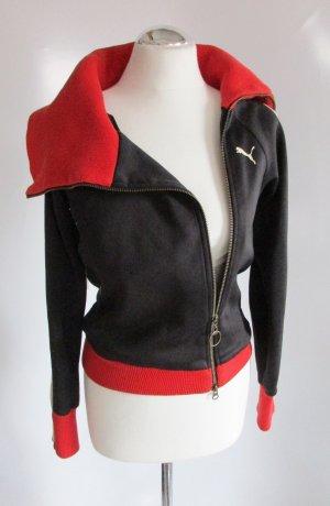Puma Sweat Jacke XS 34 Rot Schwarz Weiß Großer Kragen Blogger Schräg RAR Sport Blouson Asymetrisch