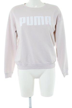 Puma Sweatshirt hellgrau-weiß Schriftzug gedruckt Casual-Look