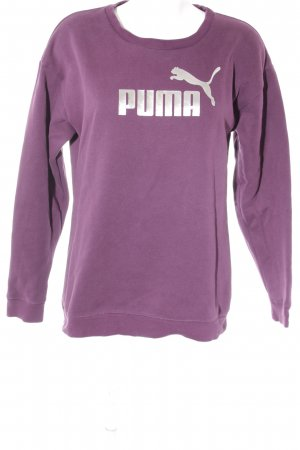 Puma Sweat Shirt purple-silver-colored printed lettering athletic style