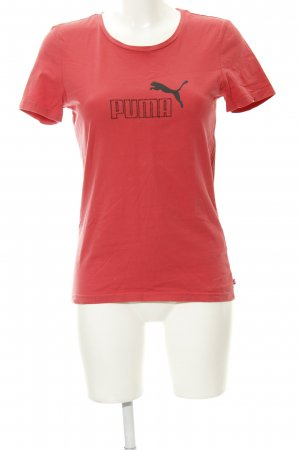 Puma T-Shirt neonrot Motivdruck sportlicher Stil