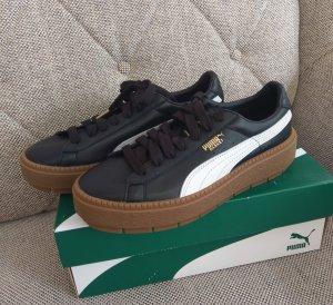 Puma Trace Plattform gr. 37,5 Sneaker Plateau schwarz weiß Leder