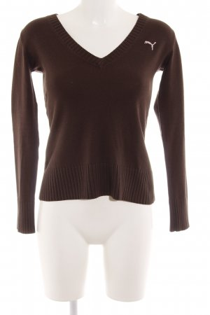 Puma V-Neck Sweater dark brown casual look