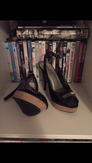 Plateauzool sandalen zwart-room