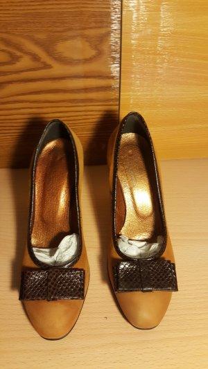High Heels dark brown-dark orange leather