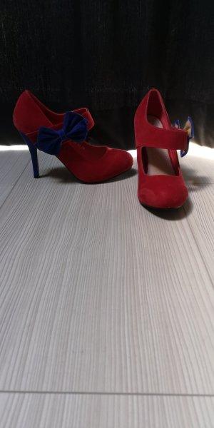 Escarpin à boucle rouge-bleu