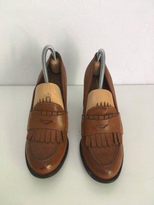 Chaussure à talons carrés brun-cognac faux cuir