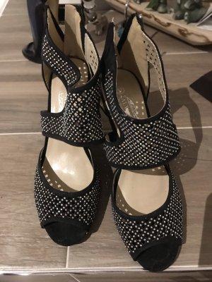Chaussure à talons carrés noir-argenté daim