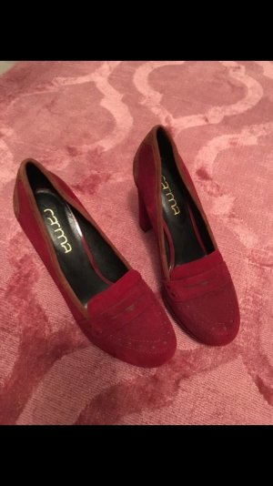 Pumps, Carma, Oxford Style, 38, rot, braun, high heel, Blockabsatz, Weihnachten
