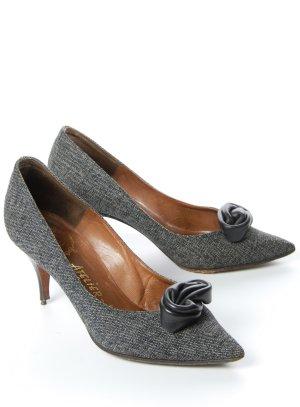 Zapatos de punta negro-blanco Cuero