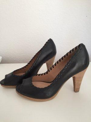 Pumps Görtz shoes Größe 38 Leder schwarz Peeptoe NEU