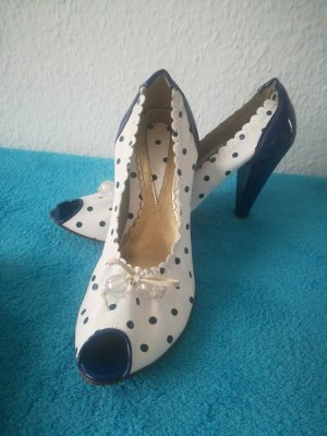 Peep Toe Pumps wit-donkerblauw