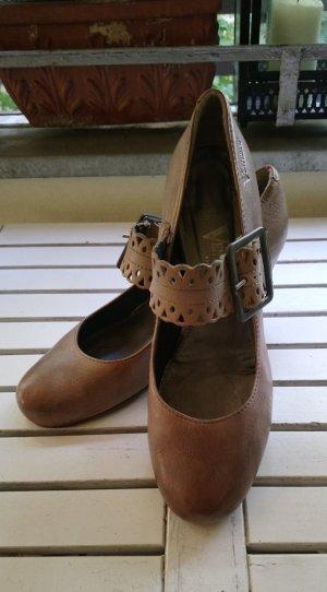 Venturini Backless Pumps grey brown-camel leather