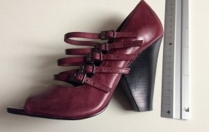 Pumps High Heel Booties Bordeaux Echt Leder Gr 37 Neu Via Uno