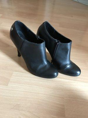 Pumps High Heels Ankle schwarz Leder 37