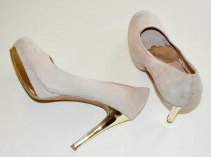 Pumps High Heels beige und gold in Größe 39
