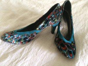 Zapatos de punta multicolor tejido mezclado