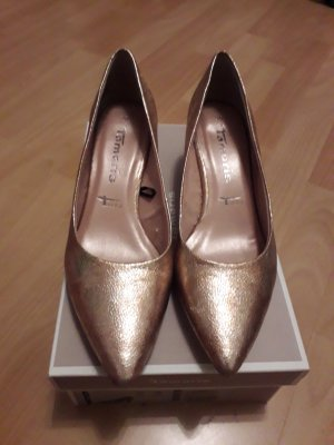 Tamaris Pointed Toe Pumps rose-gold-coloured-bronze-colored leather