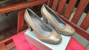 High-Front Pumps sand brown-light brown imitation leather