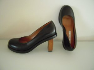 Pumps Leder schwarz Holzabsatz