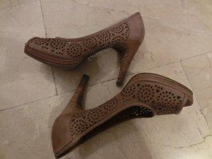 Pumps Leder Wildleder Damenschuhe Peep Toes Extravagant 36