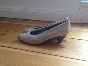 Pumps Leinen Leder 41 Schuhe Alba Moda