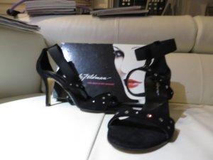 Beverly Feldman Hoge hakken sandalen zwart Suede