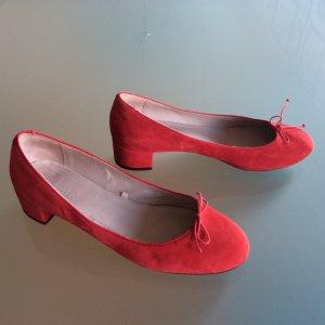 Escarpins Mary Jane rouge clair-rouge daim