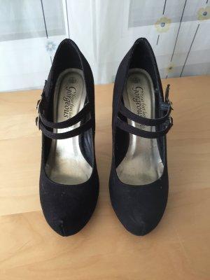 Pumps mit Riemen schwarz Samt 38 High Heels