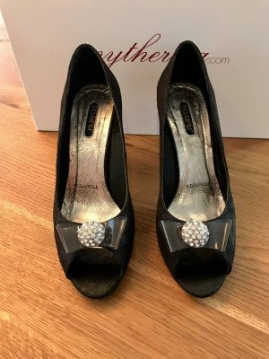 Pumps Peeptoe in schwarz in Gr. 39