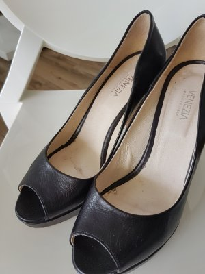 Pumps Peeptoe Leder schwarz 39 Venezia made in Italy