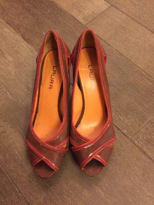 Pumps Peeptoes Leder wie neu Laura Blockabsatz braun rot hohe Schuhe