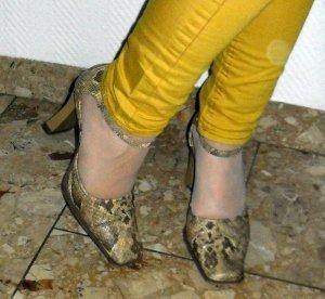 Pumps Riemchen Schuhe High Heels Mary Jane Vintage Schlange snake Absatz 5 37