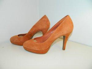 Pumps Schuhe Gr. 41 Echt Leder Orange Koralle Plateau Absatz