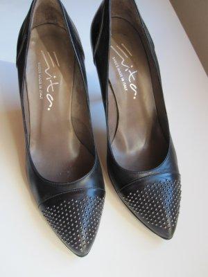 Pumps schwarz mit kleinen Nieten Leder Schuhe Evita