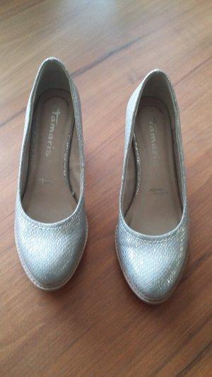 Tamaris Tacones color plata-gris Cuero
