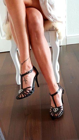 Playboy Pumps met bandjes zwart-zilver