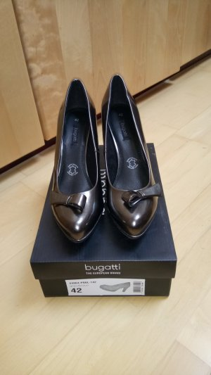 Pumps von Bugatti in dunkelgrau/braun metallic