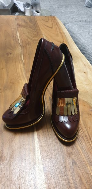 Tommy Hilfiger High-Front Pumps gold-colored-blackberry-red leather