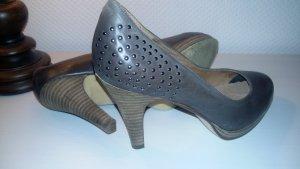 5th Avenue High Heels grey brown imitation leather