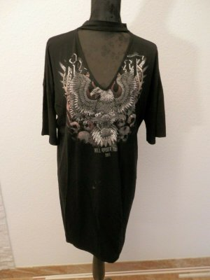 Robe pull noir tissu mixte