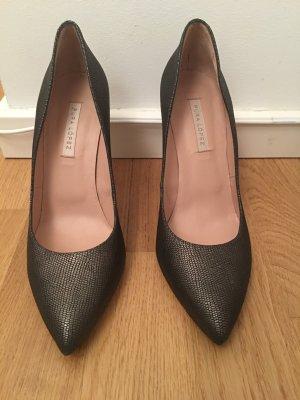 PURA LOPEZ High Heels, 39, NEU und ungetragen, metallic- grau, Leder