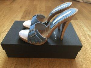 Pura Lopez Jeans Sandalette High Heels blau mit Holzabsatz Gr. 39